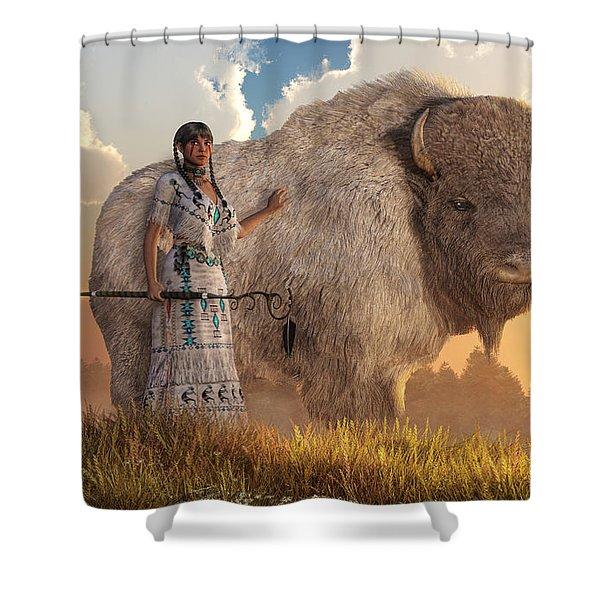 White Buffalo Calf Woman Shower Curtain
