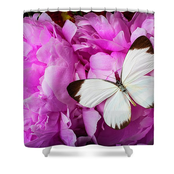 White Butterfly On Pink Peony Shower Curtain