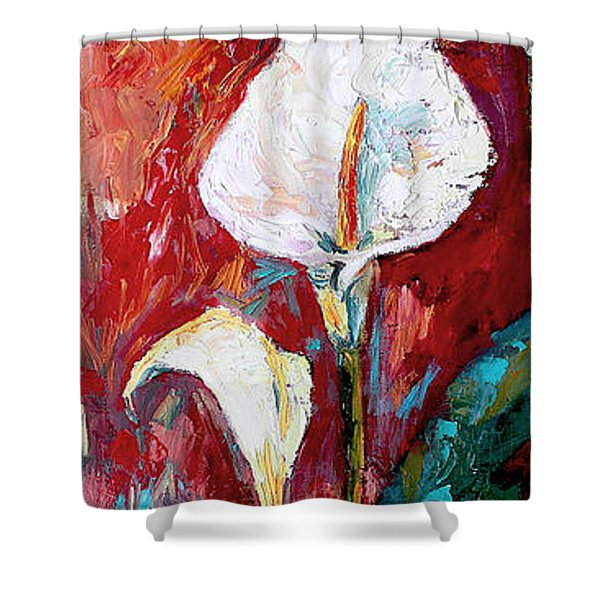 White Calla Lilies Oil Painting Shower Curtain