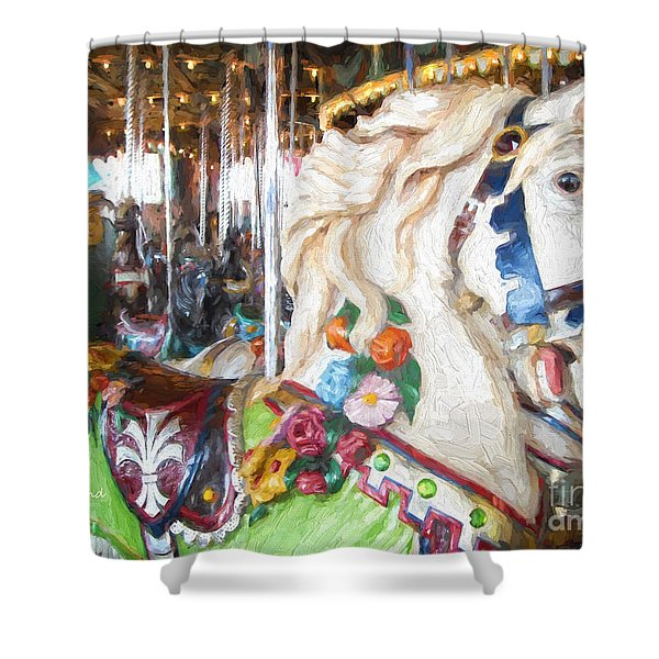 White Carousel Horse Dressed Up Shower Curtain