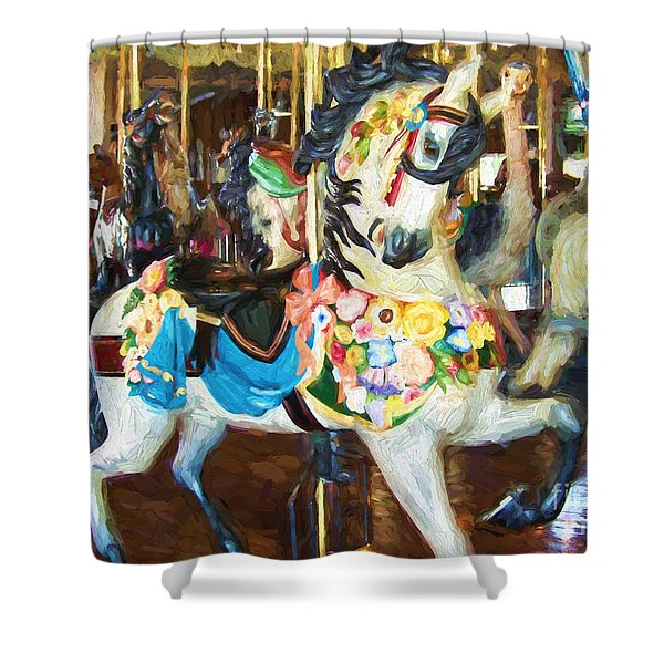 White Carousel Horse Prancing Shower Curtain
