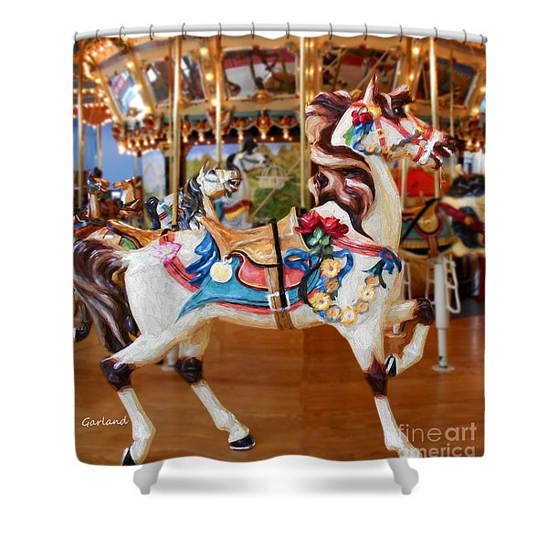 White Carousel Horse With Friends Shower Curtain