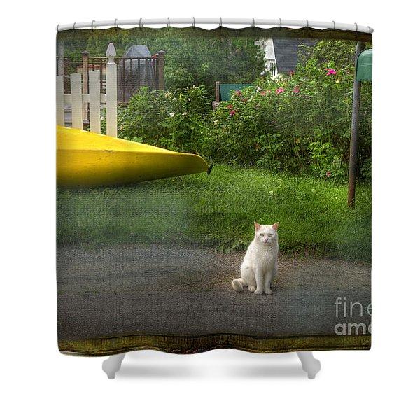 White Cat, Yellow Canoe Shower Curtain