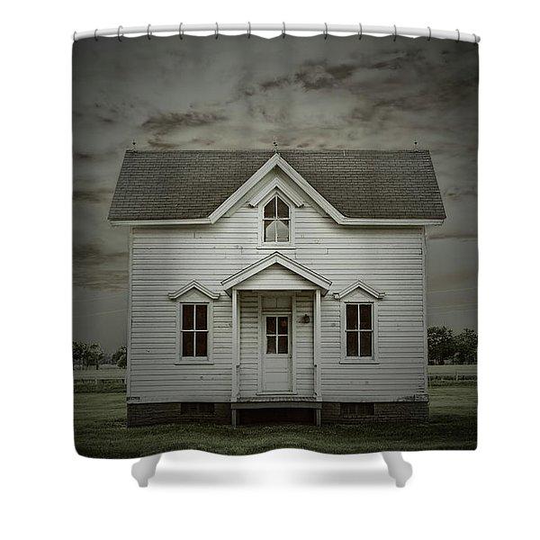 White Clapboard Shower Curtain