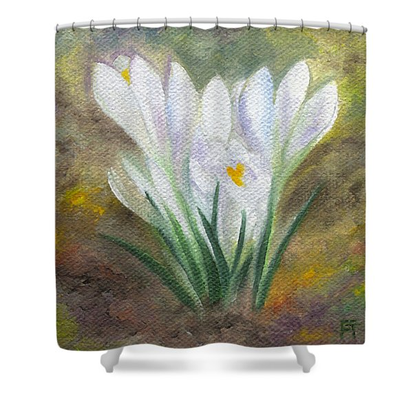White Crocus Shower Curtain