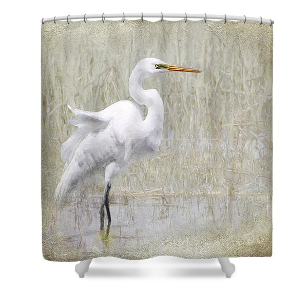 White Egret Rectangle Shower Curtain