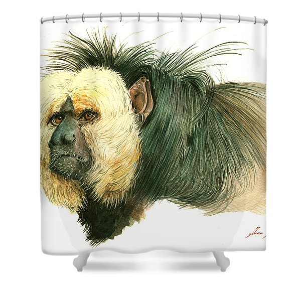 White Faced Saki Monkey Shower Curtain