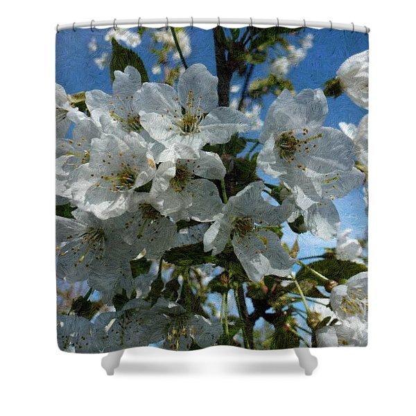 White Flowers - Variation 2 Shower Curtain