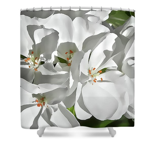 White Geraniums Shower Curtain