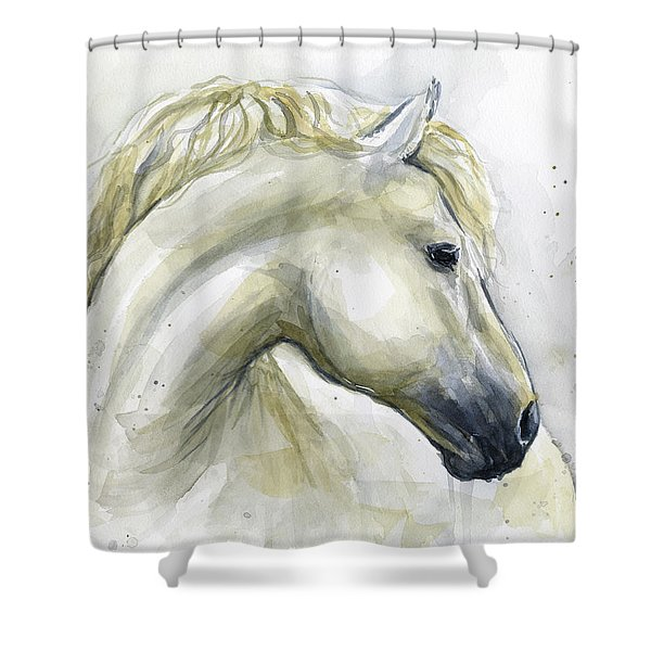 White Horse Watercolor Shower Curtain