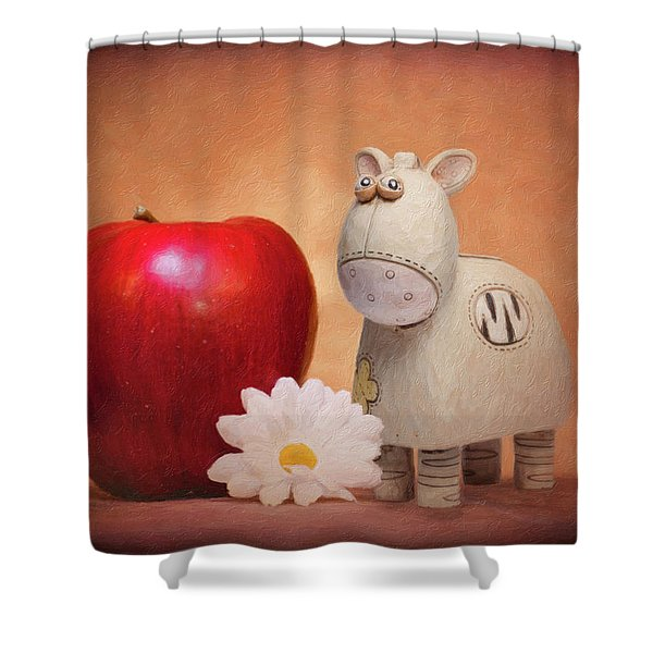 White Horse With Apple Shower Curtain