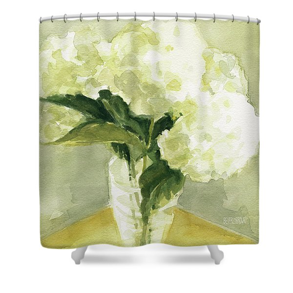 White Hydrangeas Morning Light Shower Curtain