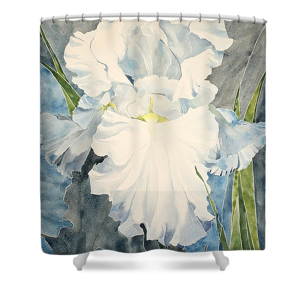 Shower Curtain featuring the painting White Iris - For Van Gogh - Posthumously Presented Paintings Of Sachi Spohn   by Cliff Spohn