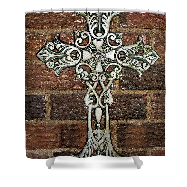 White Iron Cross 1 Shower Curtain