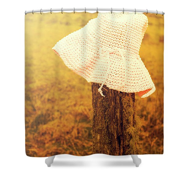 White Knitted Hat On Farm Fence Shower Curtain