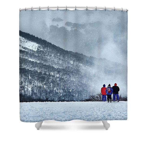 White Landscape In The Frozen Paradise In The Argentine Patagonia Shower Curtain