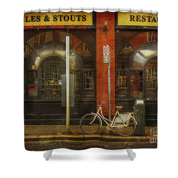 White Leopard Bicycle  Shower Curtain