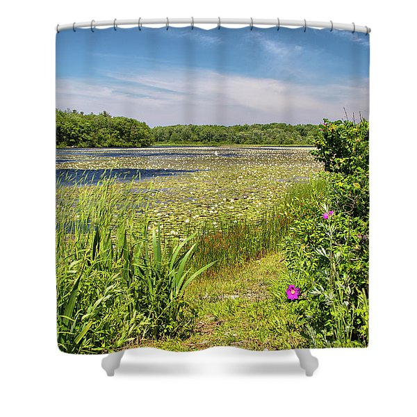 White Lily Pond  Shower Curtain