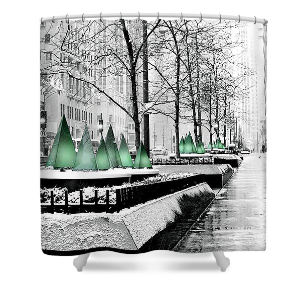 White Mag Mile Christmas Shower Curtain