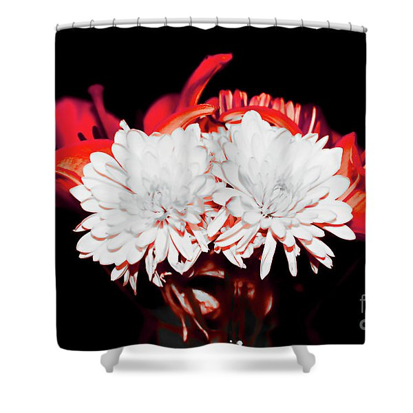 White Mums And Red Lilies Shower Curtain