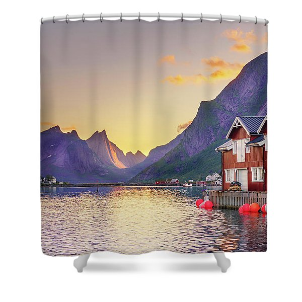 White Night In Reine Shower Curtain