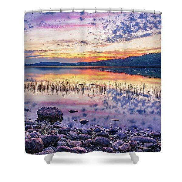 White Night Sunset On A Swedish Lake Shower Curtain