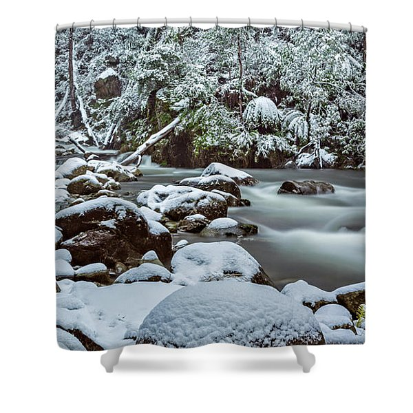 White On Green Shower Curtain