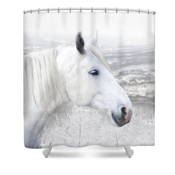 White On White Shower Curtain