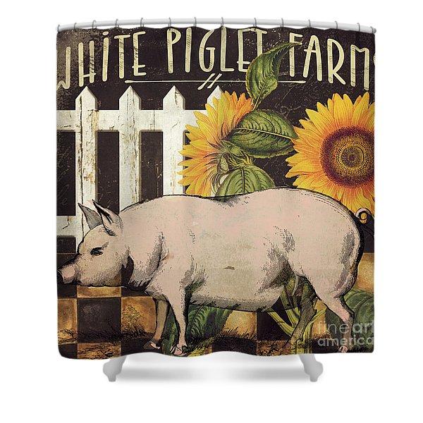 White Piglet Farms Shower Curtain