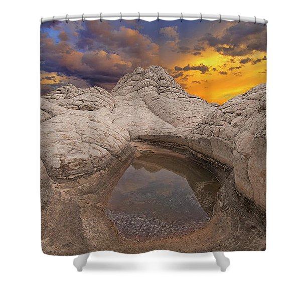 White Pocket Sunset Shower Curtain
