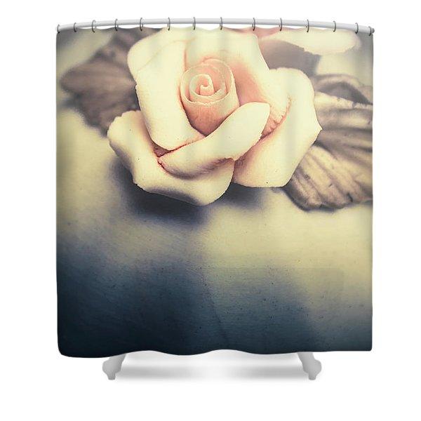 White Porcelain Rose Shower Curtain