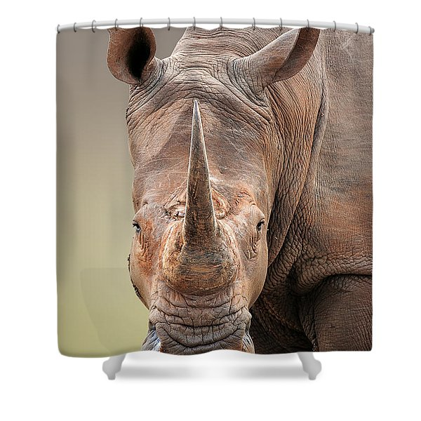 White Rhinoceros Portrait Shower Curtain