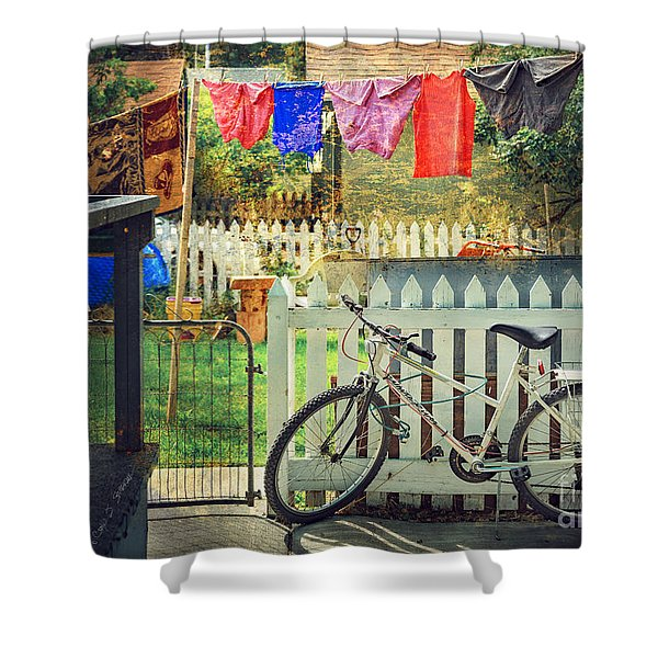 White River Bicycle Shower Curtain