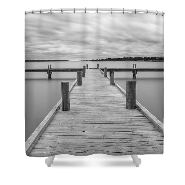 White Rock Lake Pier Black And White Shower Curtain
