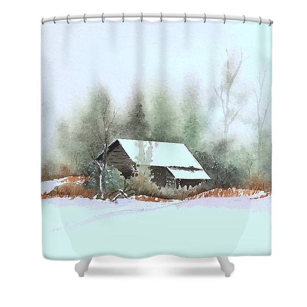 White Roof Shower Curtain