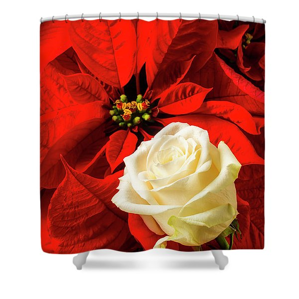 White Rose And Poinsettia Shower Curtain