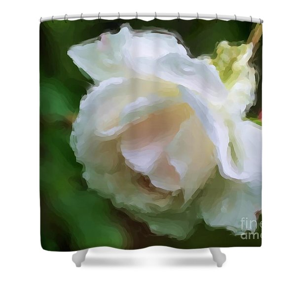 White Rose In Paint Shower Curtain