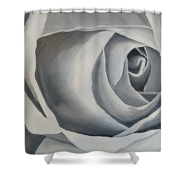 Shower Curtain featuring the painting White Rose by Kevin Daly