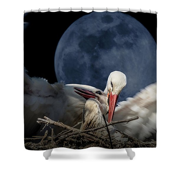 White Storks Of Fagagna With Full Moon Shower Curtain