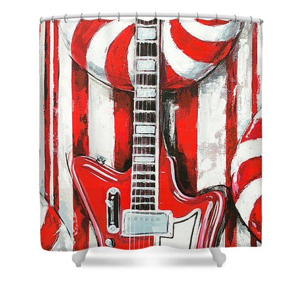 White Stripes Guitar Shower Curtain