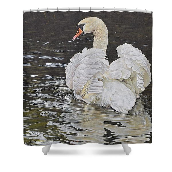 Shower Curtain featuring the painting White Swan by Alan M Hunt