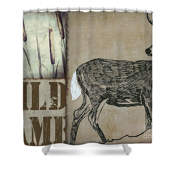 White Tail Deer Wild Game Rustic Cabin Shower Curtain