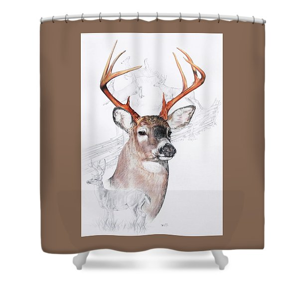 Shower Curtain featuring the mixed media White-tailed Deer by Barbara Keith