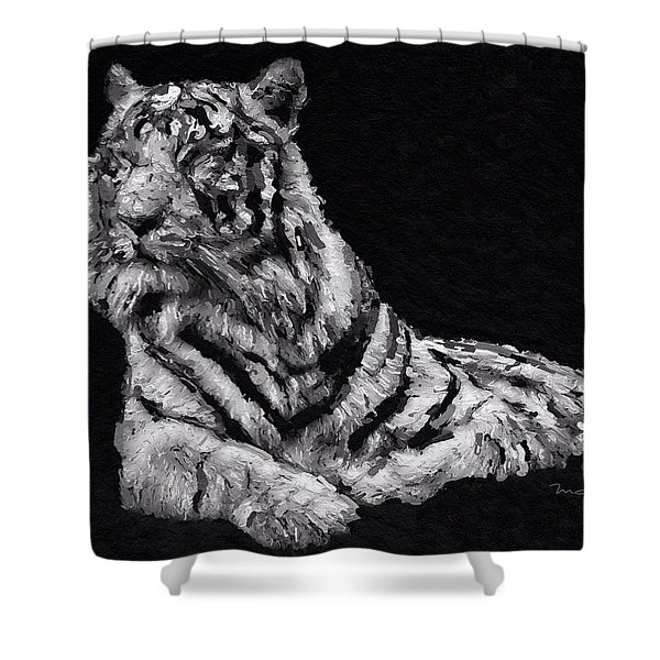 Shower Curtain featuring the painting White Tiger by Mark Taylor