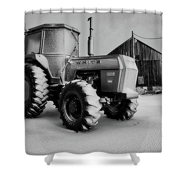 White Tractor Shower Curtain