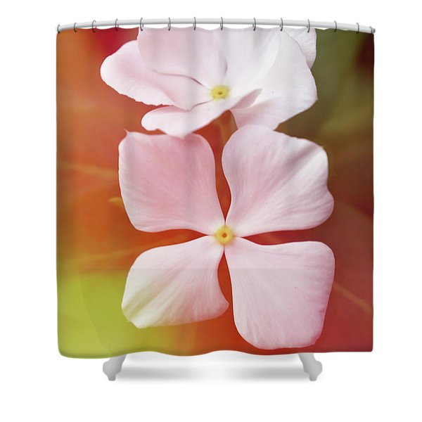 White Vinca With Vivid Highligts  Shower Curtain