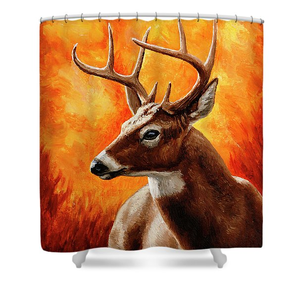 Whitetail Buck Portrait Shower Curtain