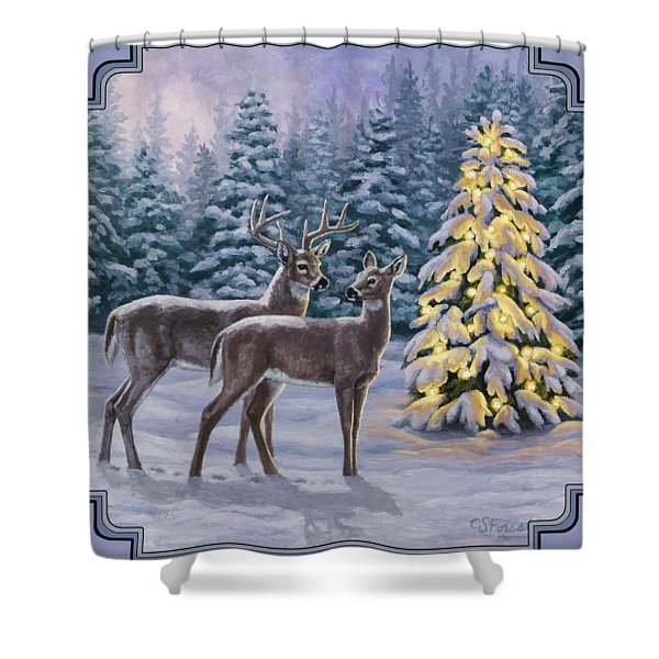 Whitetail Christmas Shower Curtain
