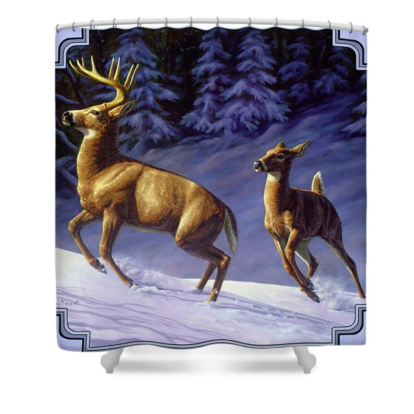 Whitetail Deer Painting - Startled Shower Curtain