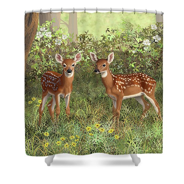 Whitetail Deer Twin Fawns Shower Curtain